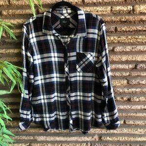 Rails Black Blue Hunter Plaid Flannel Shirt